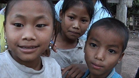 Khmu children in front of camera Stock Video Footage