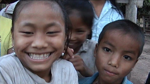 Khmu children in front of camera Footage