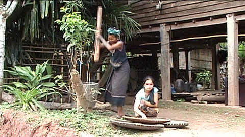 Khmu woman and girl are pounding rice Stock Video Footage