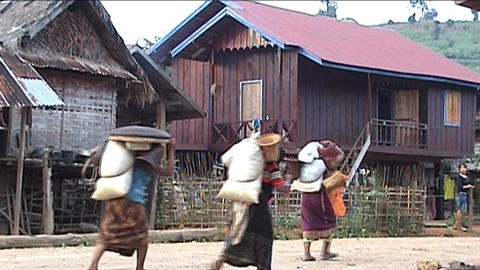 Phoukha woman with rice bags Footage