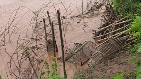 Mekong, fishing net Stock Video Footage