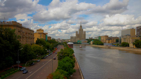 skyscraper embankment Moscow time lapse Stock Video Footage