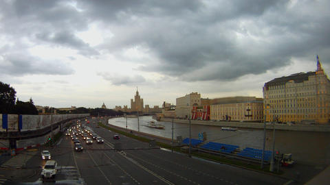 evening embankment of river Moscow time lapse Footage