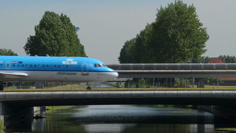 KLM airplane traffic on bridge 11011 Footage