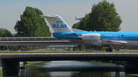 KLM airplane traffic on bridge 11011 Stock Video Footage