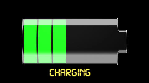 Battery Charging and Discharging with scale divisi Stock Video Footage