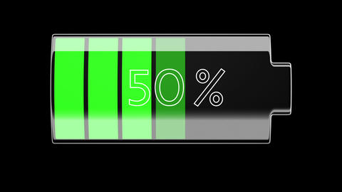 Battery Charging and Discharging with percentage Stock Video Footage