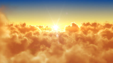 Flying Over The Clouds With The Evening (morning)  stock footage
