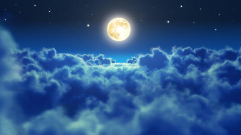 Flying over the clouds in the night with the moon. Animation