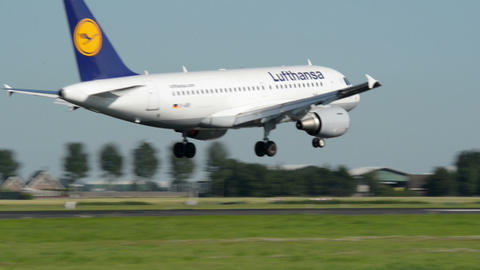 Lufthansa Airbus A 319 airplane landing 11018 Stock Video Footage