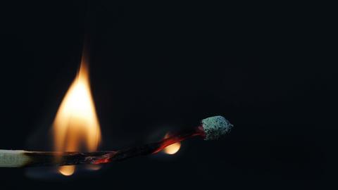 Burning match - horizontally Stock Video Footage