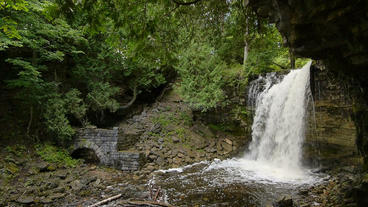 Hilton Falls Waterfall Tilt Wide Angle 00186 Stock Video Footage