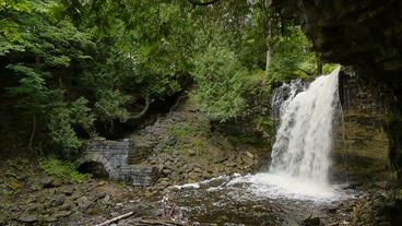 Hilton Falls Waterfall Tilt Wide Angle 00186 Footage
