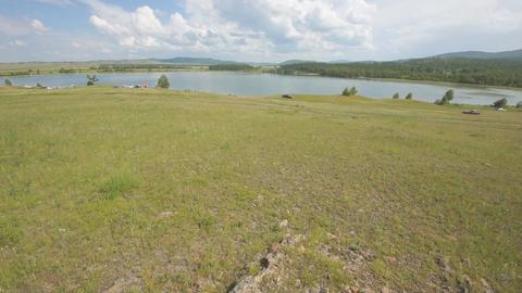 Khakassia Dog Lake landscape 07 pan up Stock Video Footage