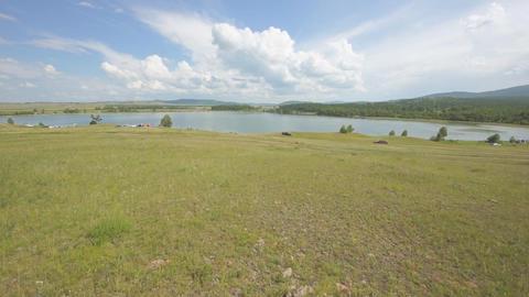 Khakassia Dog Lake landscape 07 pan up Footage