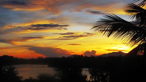 Vietnam sunset landscape timelapse Stock Video Footage