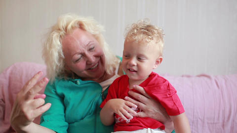 Happy grandmother with her little grandson Stock Video Footage