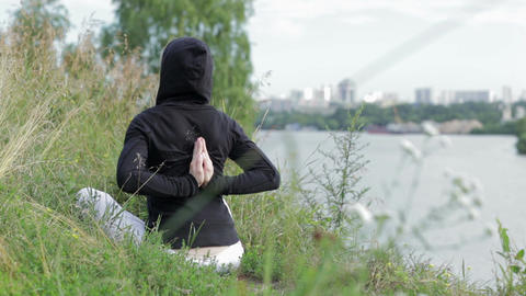 Yoga exercises outdoors Stock Video Footage