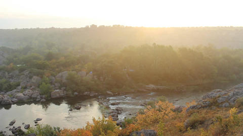 sunrise over the river canyon Footage