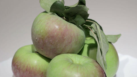 Ripe apples with leaves Stock Video Footage