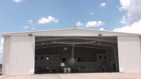 Plane in hangar Footage