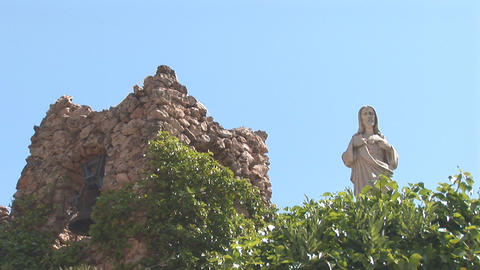 Holy statue and tower Stock Video Footage
