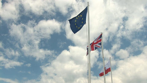 Flags on Gibraltar Stock Video Footage