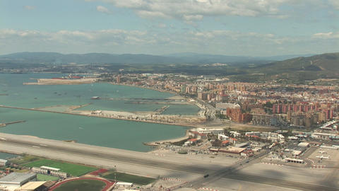 Gibraltar airport an La Linea Stock Video Footage