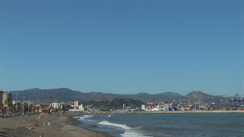 Beach of Malaga, Spain Stock Video Footage