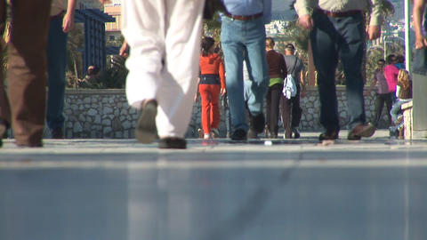 People Walking On Boulevard stock footage