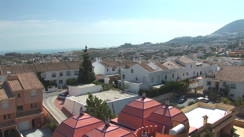 Flying over neighborhood in Spain Stock Video Footage