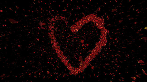 Romantic Heart Animation with Rose Petals Stock Video Footage