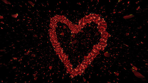 Romantic Heart Animation with Rose Petals Animation