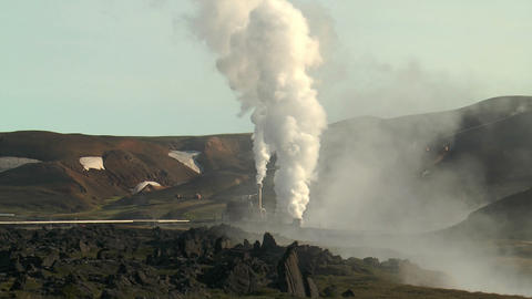 volcanic area at krafla power station Stock Video Footage