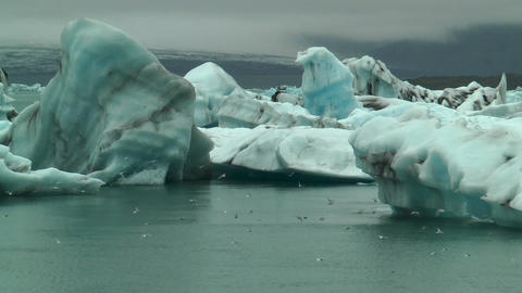 blue icebergs at jokulsarlon iceland Stock Video Footage