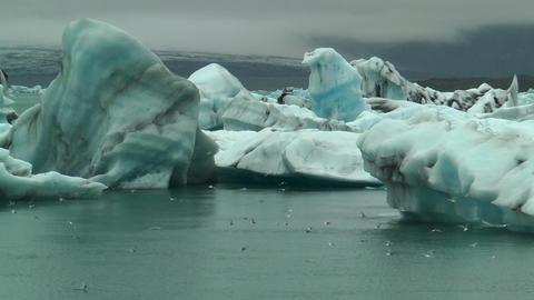 blue icebergs at jokulsarlon iceland Footage