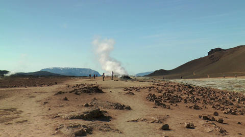 tourists at fumaroles area in iceland Stock Video Footage