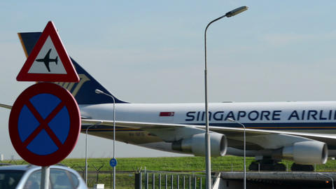 Singapore Airlines Boing 747 airplane on Taxiway 1 Stock Video Footage