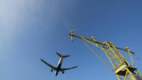 airplane landing overhead runway light 11024 Stock Video Footage