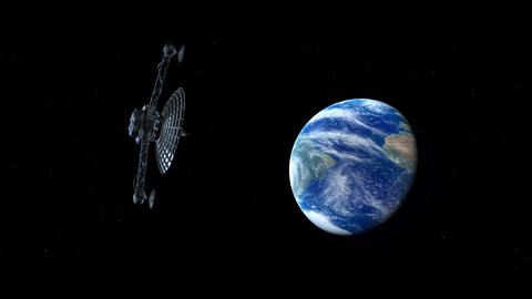 Satellite in open Space Animation