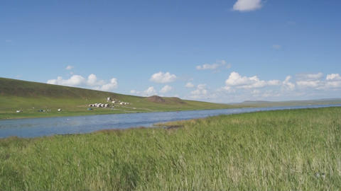 Khakassia Tus Lake 06 Pan stock footage