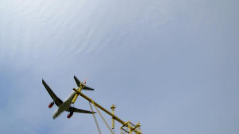 airplane landing wide runway light 11026 Footage