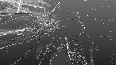 Cracked and Shattered black glass with slow motion Animation