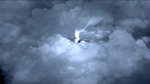 flying in cloud & rays light Stock Video Footage