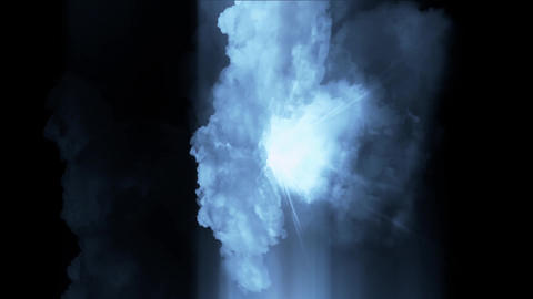 flying in blue cloud & lightning Stock Video Footage