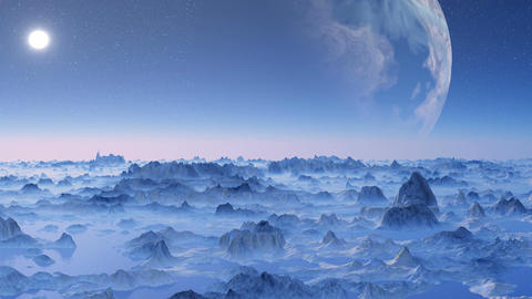 Huge planet over the horizon Stock Video Footage