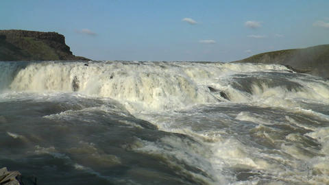 top of gullfoss waterfall in iceland Stock Video Footage