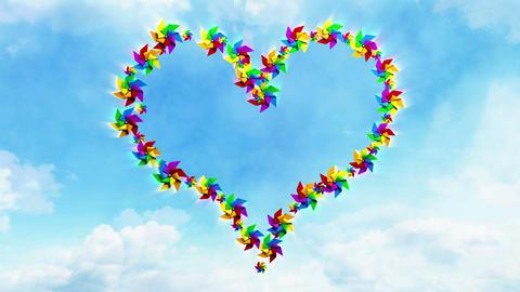 Pinwheel Heart on the Sky Stock Video Footage