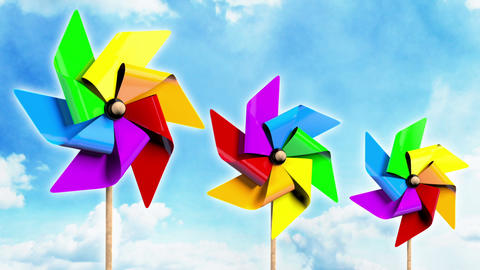 Rainbow Spinning Pinwheels on the Sky Stock Video Footage