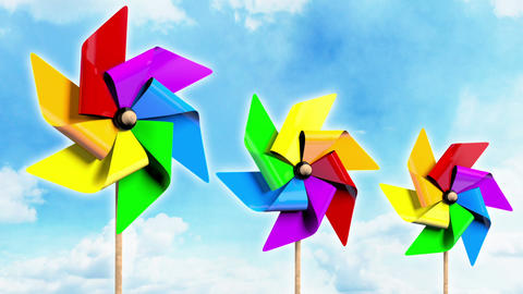 Rainbow Spinning Pinwheels on the Sky Animation